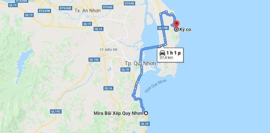 Từ Mira Bãi Xếp đến khu du lịch Kỳ Co - Ảnh: theo Google map
